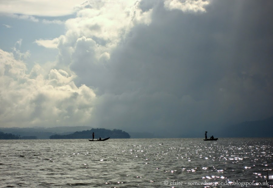 Locals out fishing on Lake Yojoa, Honduras