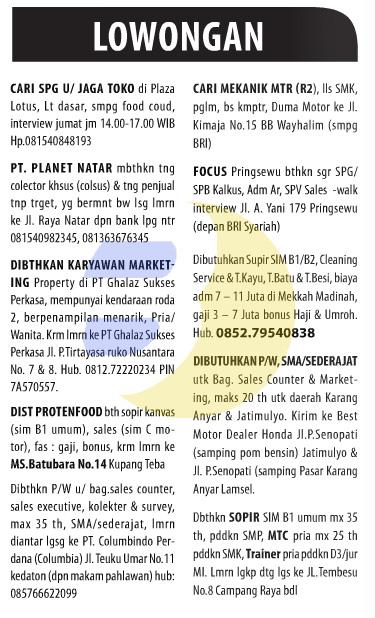 Lowongan Kerja Baris Lampung Post 12 Desember 2014