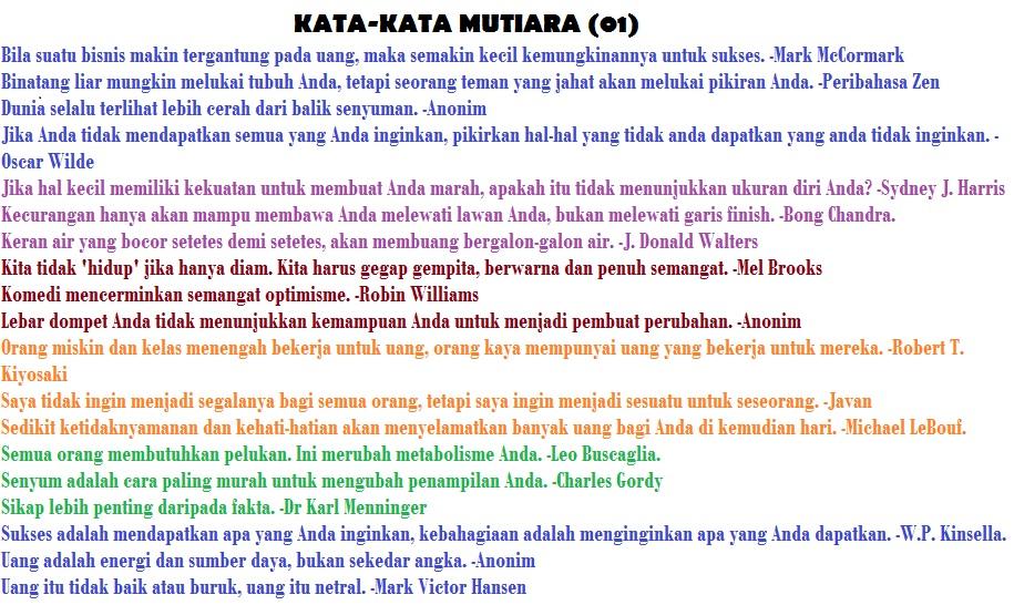 Kata Mutiara dan Kata Bijak Paling