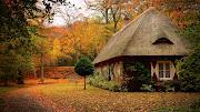 Wallpaper de una bonita casa del campo con la época de otoño. linda casa de campo en la temporada de otoã±o