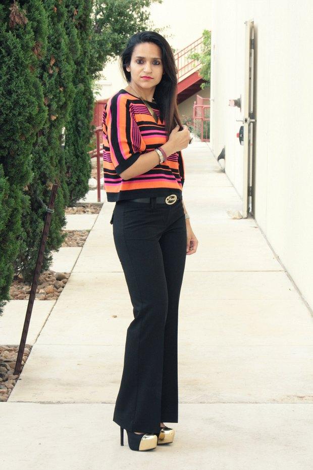 ASOS Crop Top, Trousers, Just Fab Anamika Pumps, Collar Necklace, Tanvii.com