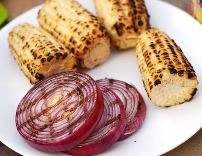 grilled onions and corn