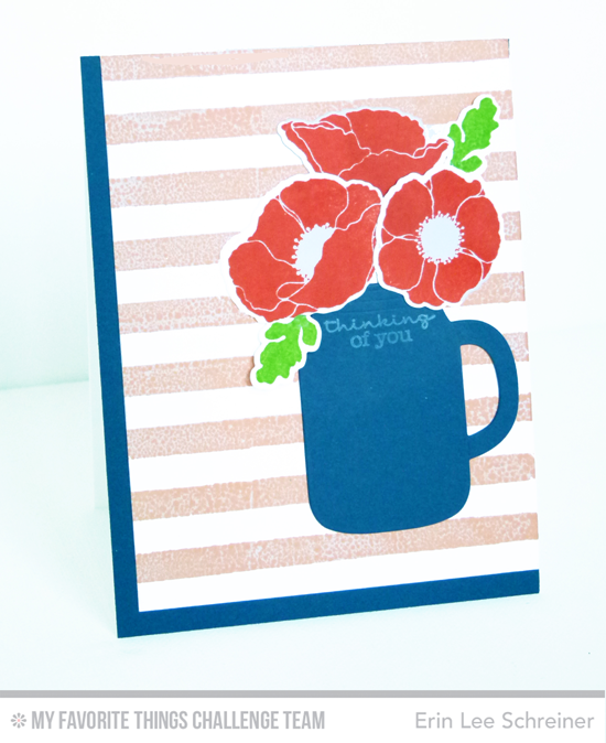 Mug of Flowers Card by Erin Lee Schreiner featuring the Pretty Poppies stamp set, and the Poppies and Leaves and Mason Jar Mug Die-namics #mftstamps