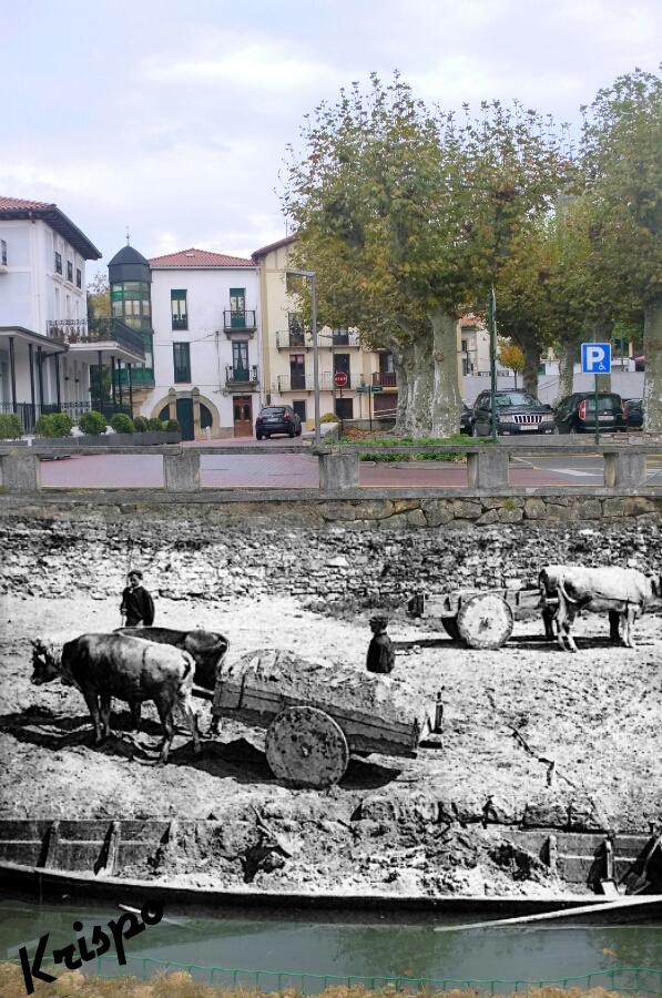 fotografia antigua de carros y bueyes en la rivera
