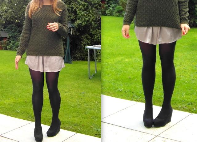 Khaki Jumper and silk skirts