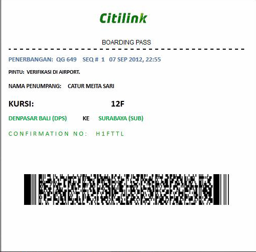 Boarding Pass Airlines...