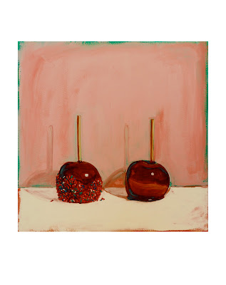 caramel dipped apple painting, original still life jeanne vadeboncoeur, junk food