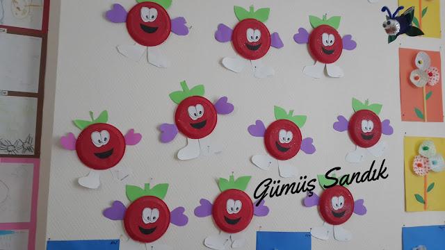 plastik tabaktan elmalar etkinliği,s3vimli elmalar faaliyeti,anasınıfı etkinlikleri