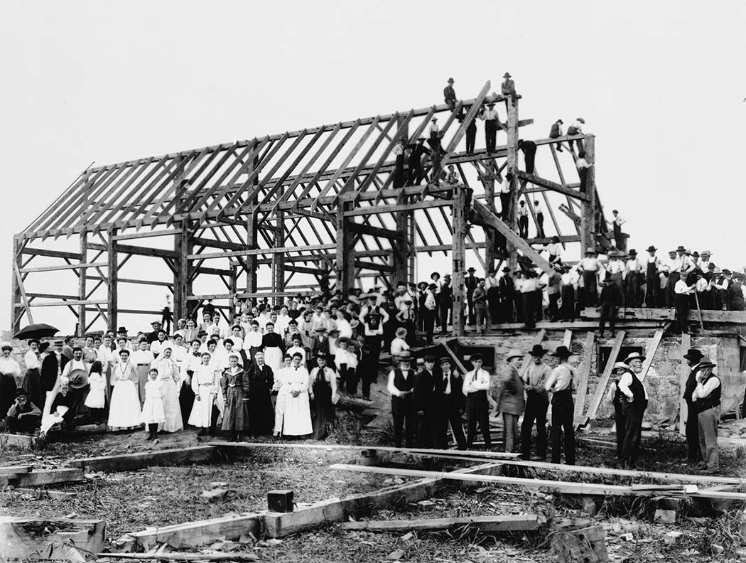 Community Barn Raising, Canada, 1900's