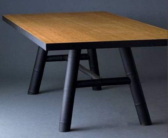 desain meja bambu modern minimalis