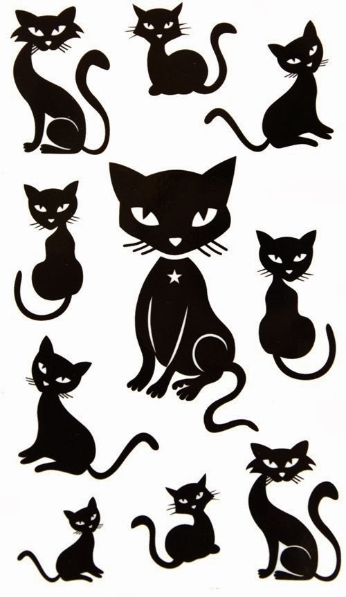 Cats small tattoo stencil