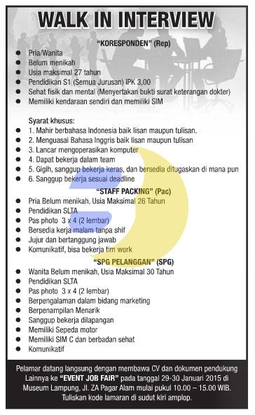 Terbaru JOB FAIR Lampung Januari 2015