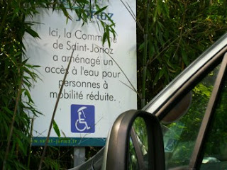Disabled Travel: parking and wheelchair access St Jorioz Beach Lake Annecy, France