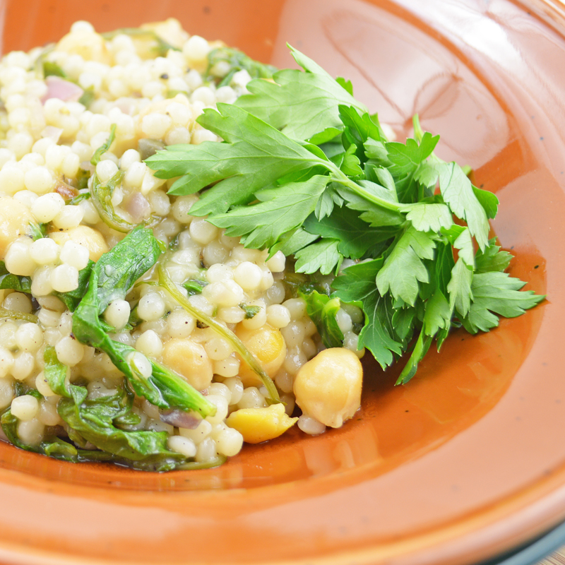 Weekly Vegan Menu: Chickpeas and Couscous with Lemon-Caper Sauce