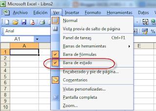 La barra de Estado en un Libro de Excel.