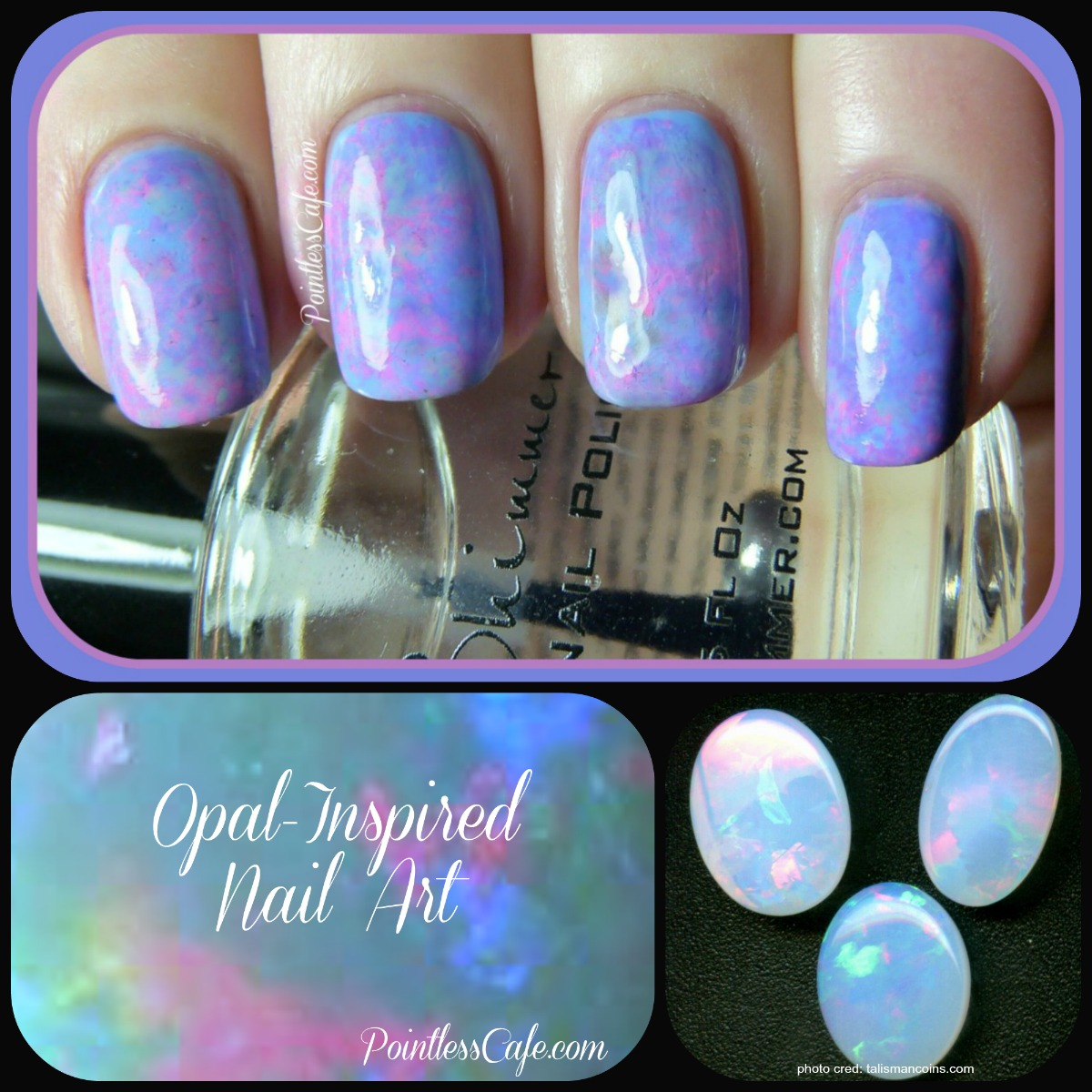 Rock/Mineral Nail Art Theme Week: Day 5 - Opal Nails | Pointless Cafe