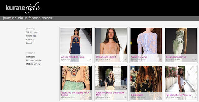 kuratestyle shopping page