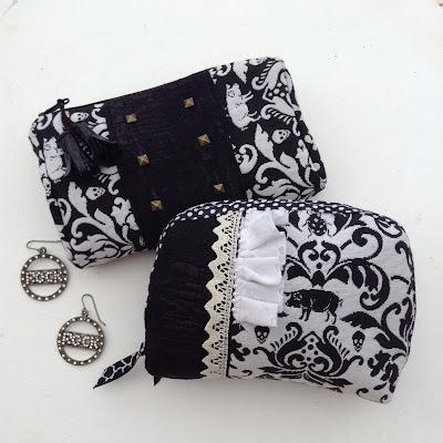 pochettes tissu noir et blanc