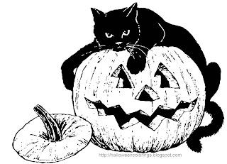 Halloween Pumpkin Cat Coloring Pages