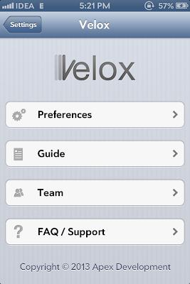 Velox Settings