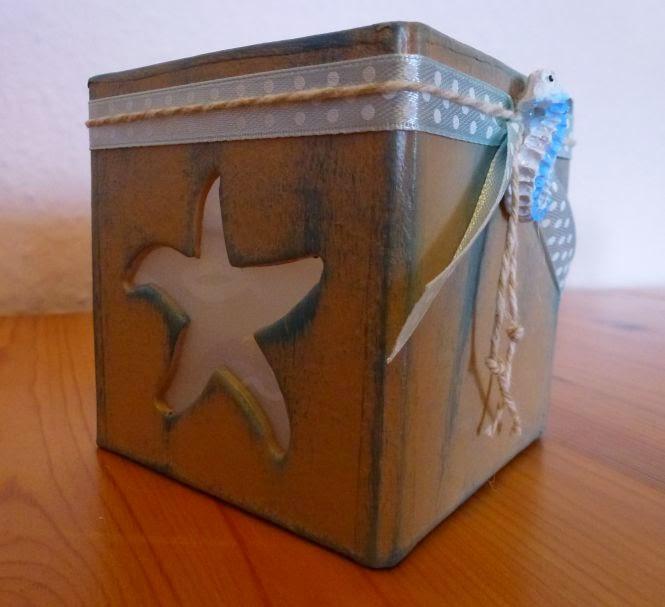 Pappmaché Teelichthalter Seestern in sand