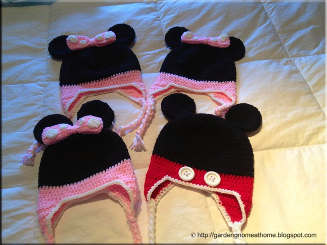 crochet mouse hats with ear flaps