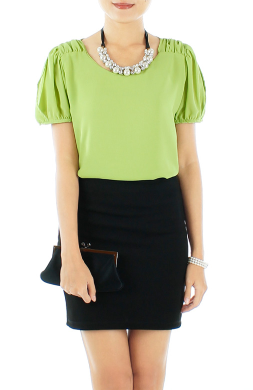 Spring Green Primrose Gathered Pleat Blouse with Sleeves