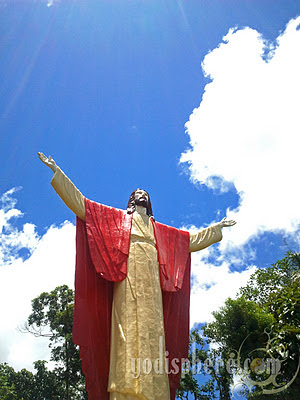 Full View of the Ascending Christ Statue at the Kamay ni Hesus Healing Center