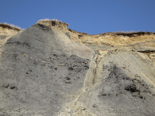 Grey cliffs at Charmouth in Dorset - showing layers of geological history.
