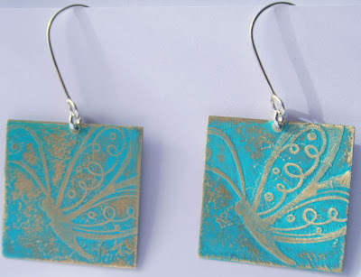 Aponi: brass, sterling silver earwires, etching, OOAK earrings :: All Pretty Things