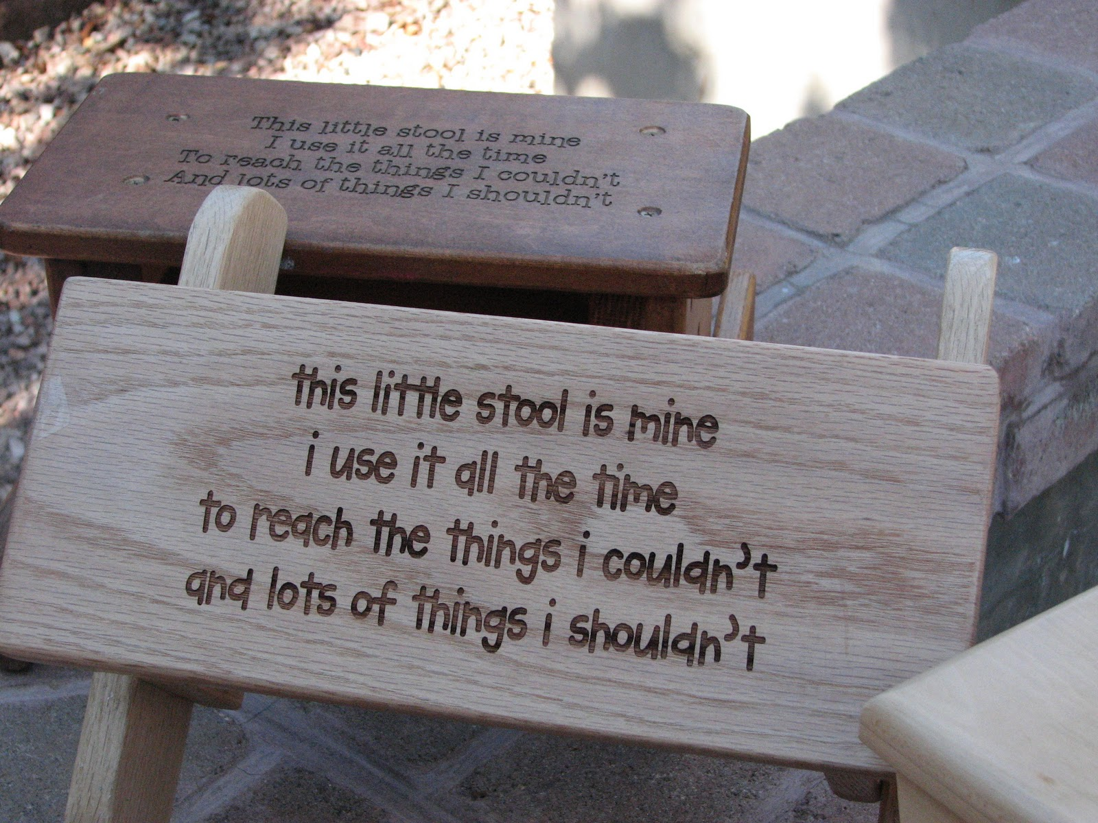 My husbandu0027s grandpa made these super sturdy solid oak step stools. I made them even better by engraving this cute saying on them. & Crafty Candy: Super Cute Step Stools islam-shia.org