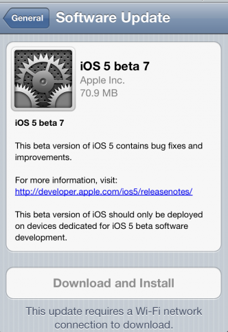 iOS 5 beta 6 firmware can easily download iOS 5 Beta 7 via OTA (Over