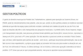Decisão do PT JUiz de Fora ser oposição à Bruno Siqueira