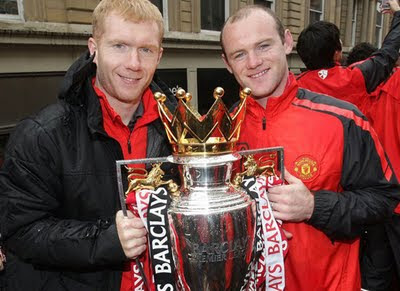 Paul Scholes Wayne Rooney Manchester United Champions Barclays Premier League Parade