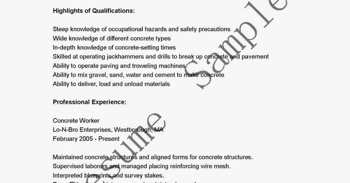 resume sles concrete worker resume sle