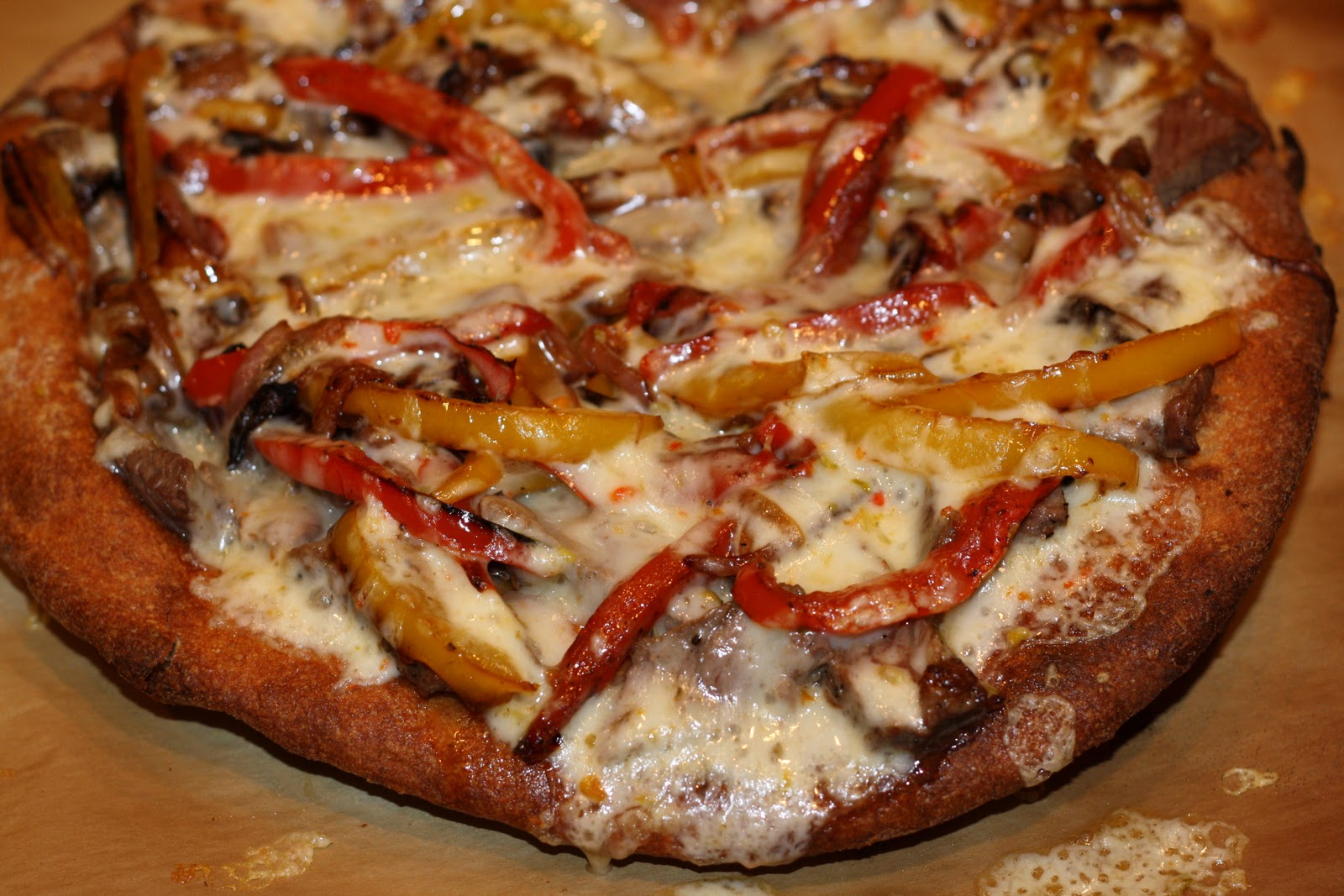 what's for dinner?: steak pizza with peppers and onions... 35 minutes