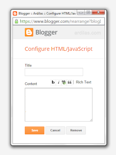 Form widget / gadget HTML Javascript - Cara Membuat Widget Artikel / Postingan Terbaru di Blogspot