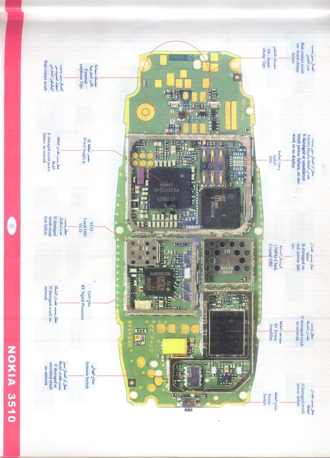 Nokia 3510 Circuit Board Details Mobile Reparing