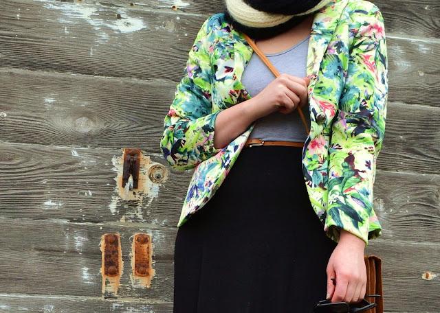 floral blazer, leotard, Fleur d'elise, American Apparel