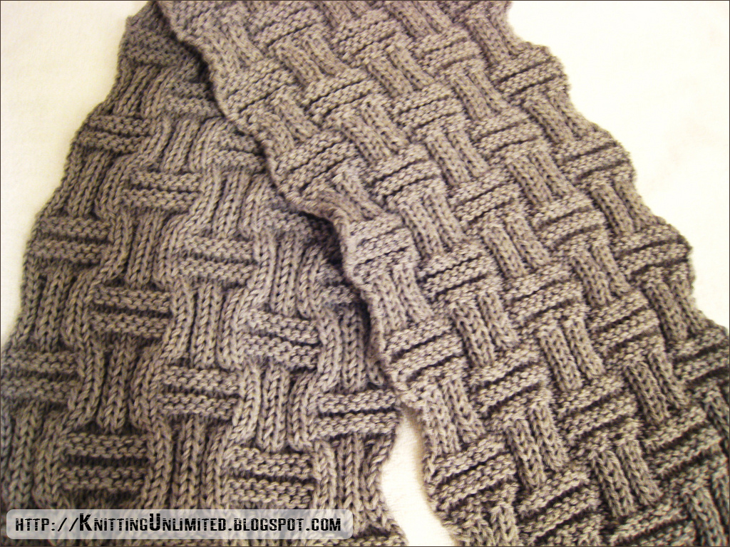 Basketweave scarf knitting is an easy stitch pattern