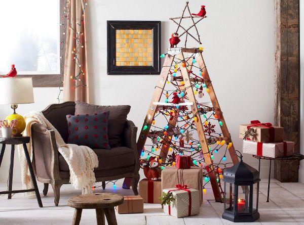 Árvores de Natal Baratas e Criativas + Árvores de Natal feita com escada