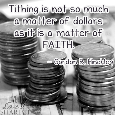 Tithing is not so much a matter of dollars as it is a matter of faith. - Gordon B. Hinckley