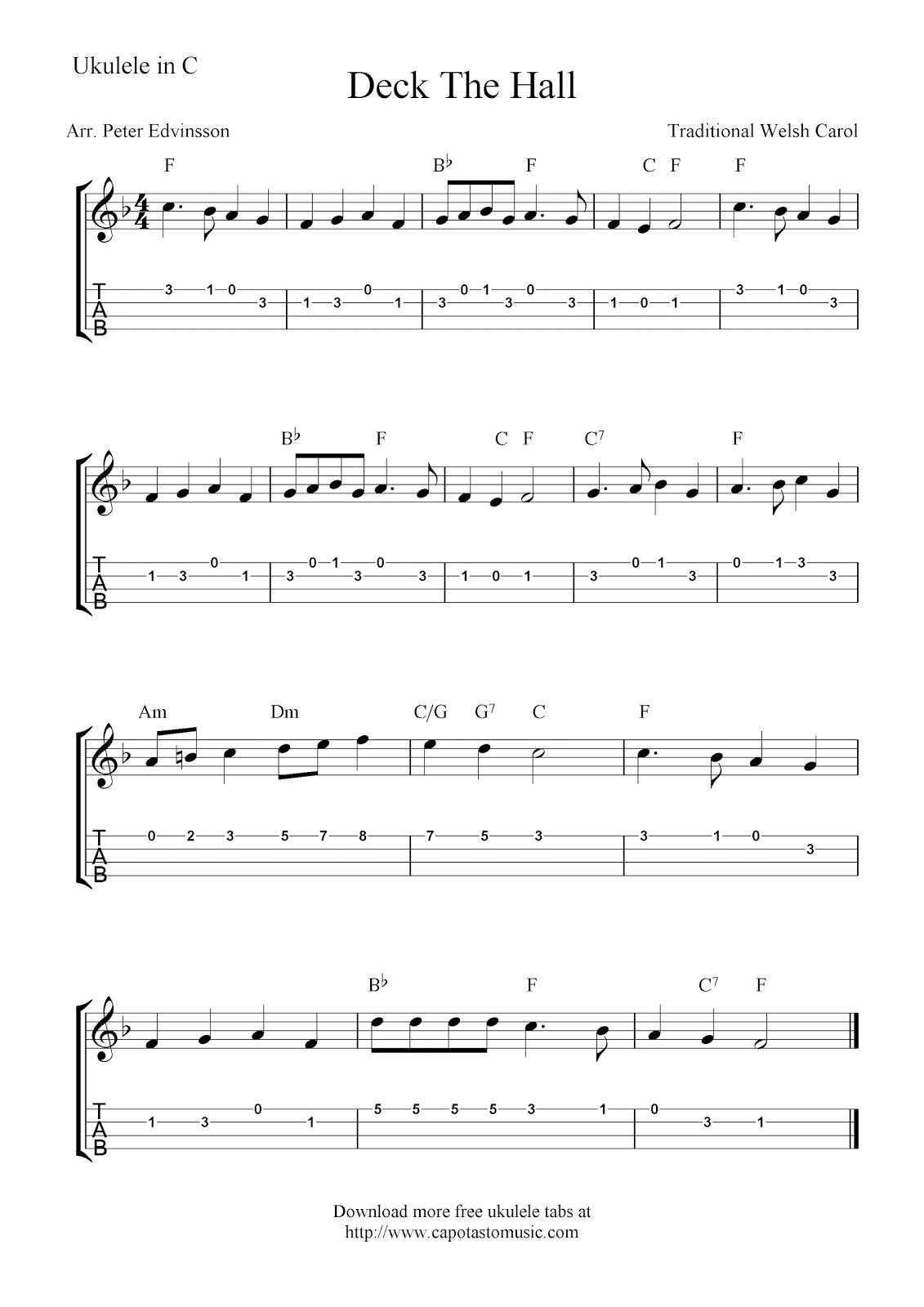 Deck The Hall, free Christmas ukulele tab sheet music