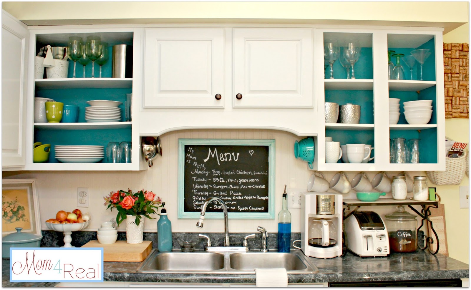 open cabinets with white, aqua, lime green, & silver accents - mom