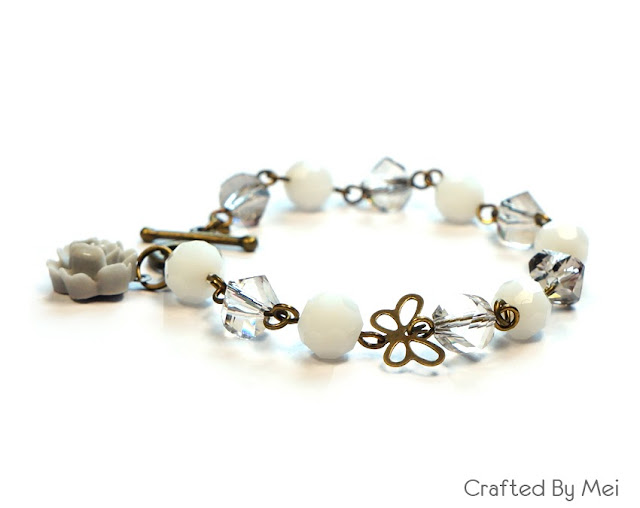 white grey crystal bracelet