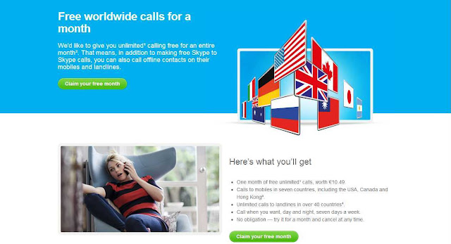 Get free calling credit from Skype, to make free calls to international phone numbers, cell phone, land lines and offline phones