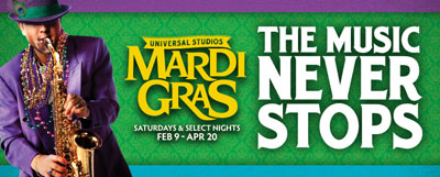 Music Never Stops at Universal's Mardi Gras