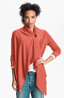 Bobeau Asymmetrical Fleece Wrap Cardigan