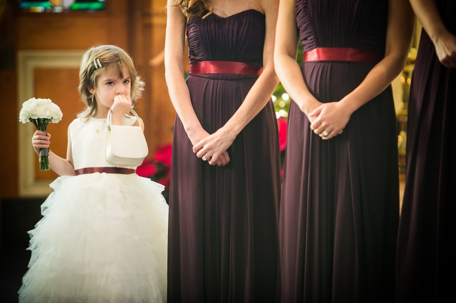 flowergirl in tulle dress : white carnations : winter wedding : les fleurs