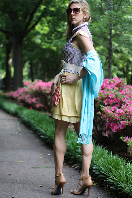 belk blue pashmina, banana republic clutch, step by sloan shoes, maria sharapova for cole haan shoes, heels.